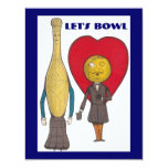 """CUTE PIN AND BALL COUPLE BOWLING PARTY INVITATION 4.25"""" X 5.5"""" INVITATION CARD"""