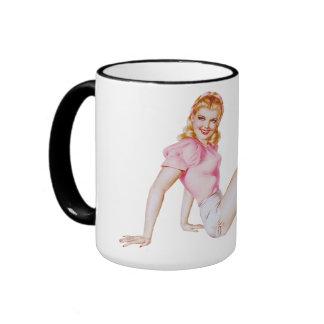 Cute Pin-up Girl Ringer Coffee Mug