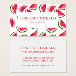Cute Pineapple & Watermelon Pattern Business Card