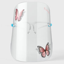 Cute Pink 3D Butterfly Watercolor Rose Gold Face Shield
