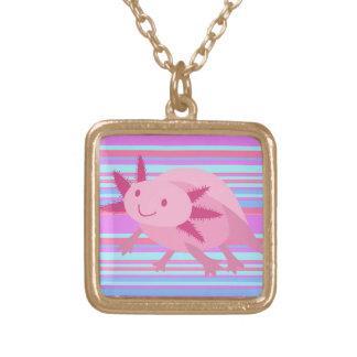 Cute Pink Albino Axolotl Square Pendant Necklace