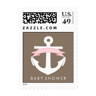 Cute Pink Anchor and Ribbon Nautical Baby Shower Postage Stamp