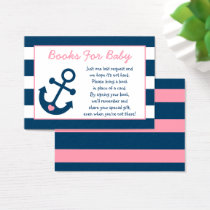 Cute Pink Anchor Book Request Cards