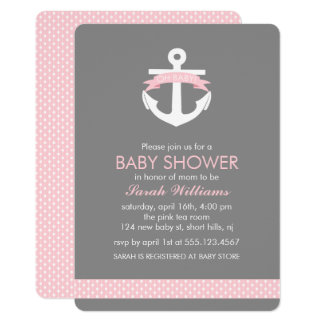 Cute Pink Anchor Nautical Girl Baby Shower Card