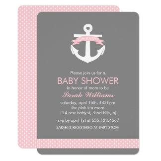 Cute Pink Anchor Nautical Girl Baby Shower Card