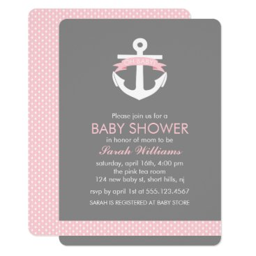 heartlocked Cute Pink Anchor Nautical Girl Baby Shower Card