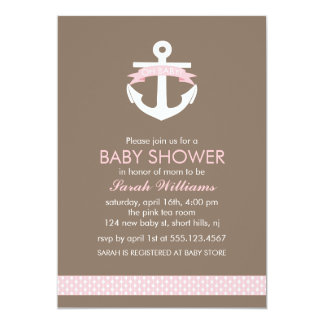Cute Pink Anchor Nautical Theme Baby Shower Card