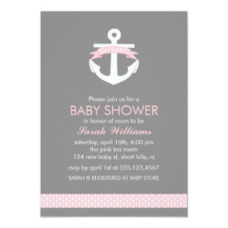 Cute Pink Anchor Nautical Theme Baby Shower Invite