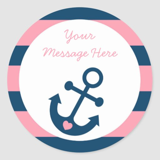 Cute Pink Anchor Personalized Stickers