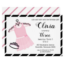 Cute Pink and Black Ballerina Birthday Invitation