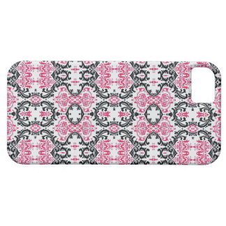 Cute Pink and Black Damask print iPhone Case