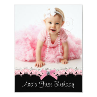 Cute Pink and Black Girls Photo 1st Birthday Party Custom Invites