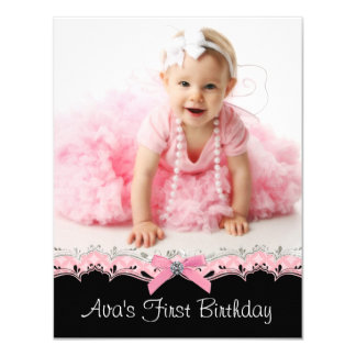 Cute Pink and Black Girls Photo Birthday Party 4.25x5.5 Paper Invitation Card