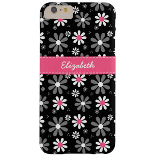 Cute Pink and Black Girly Mod Daisies With Name Barely There iPhone 6 Plus Case