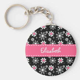 Cute Pink and Black Girly Mod Daisies With Name Basic Round Button Keychain