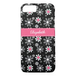 Cute Pink and Black Girly Mod Daisies With Name iPhone 8/7 Case