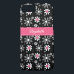 "Cute Pink and Black Girly Mod Daisies With Name iPhone 8/7 Case<br><div class=""desc"">Any girl would love to have her name personalized on this cute pink and black Barely There iPhone 6 Case with girly retro mod daisy flowers in black and white with pretty pink centers.</div>"