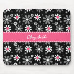 "Cute Pink and Black Girly Mod Daisies With Name Mouse Pad<br><div class=""desc"">Any girl would love to have her name personalized on this cute pink and black mousepad with girly retro mod daisy flowers in black and white with pretty pink centers.</div>"