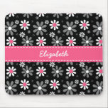 """Cute Pink and Black Girly Mod Daisies With Name Mouse Pad<br><div class=""""desc"""">Any girl would love to have her name personalized on this cute pink and black mousepad with girly retro mod daisy flowers in black and white with pretty pink centers.</div>"""