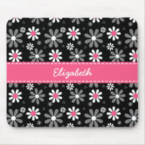 Cute Pink and Black Girly Mod Daisies With Name Mouse Pad