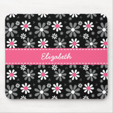 Cute Pink And Black Girly Mod Daisies With Name Mouse Pad at Zazzle