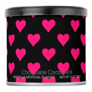Cute Pink and Black Heart Pattern Hot Chocolate Drink Mix