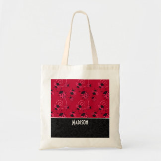 Cute Pink and Black Ladybug Canvas Bags