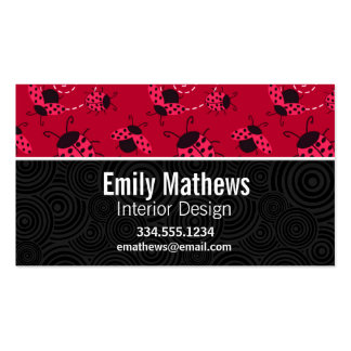Cute Pink and Black Ladybug Double-Sided Standard Business Cards (Pack Of 100)