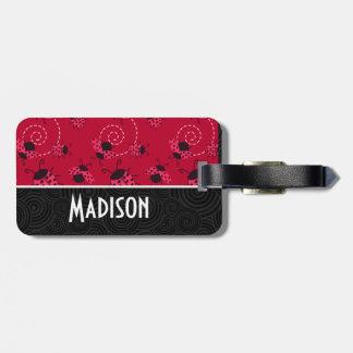 Cute Pink and Black Ladybug Luggage Tag