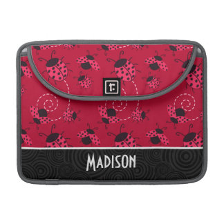 Cute Pink and Black Ladybug Sleeve For MacBook Pro