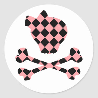 Cute Pink and Black Skull and Crossbones Classic Round Sticker