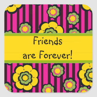Cute Pink and Black Striped Friends are Forever Square Sticker
