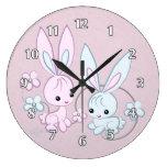 Cute Pink And Blue Bunnies Wallclocks