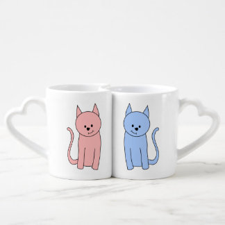 Cute Pink and Blue Cats Couples' Coffee Mug Set