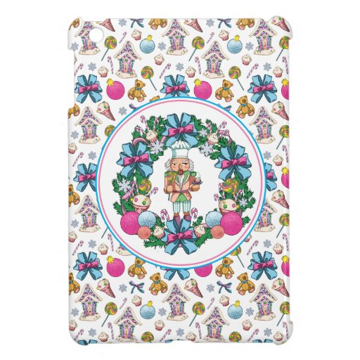 Cute Pink And Blue Christmas Nutcracker Wreath Case For The iPad Mini