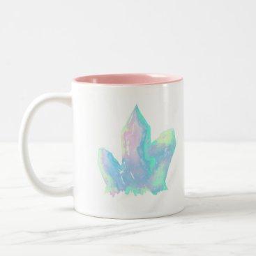 Coffee Themed Cute Pink and Blue Crystal Two Tone Coffee Mug