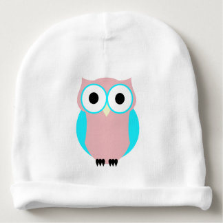 Cute Pink And Blue Hoot Owl Baby Hat