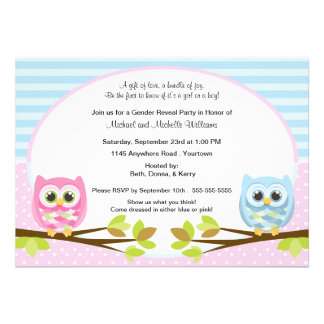 Cute Pink and Blue Owl Gender Reveal Cards