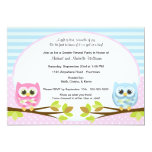 Cute Pink and Blue Owl Gender Reveal 5x7 Paper Invitation Card