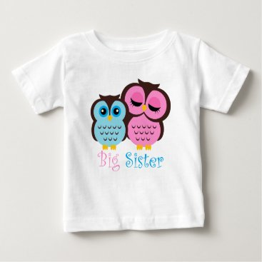 heartlocked Cute Pink and Blue Owls Big Sister Little Brother Baby T-Shirt