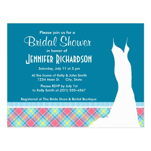 Cute Pink and Blue Plaid Postcards