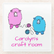 Cute pink and blue sheep, craft room, personalised glass coaster