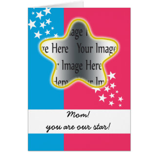 cute pink and blue star mom photo card