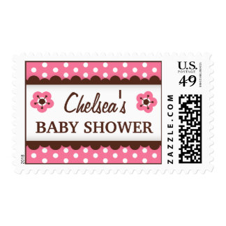 Cute pink and brown floral polka dot baby shower postage