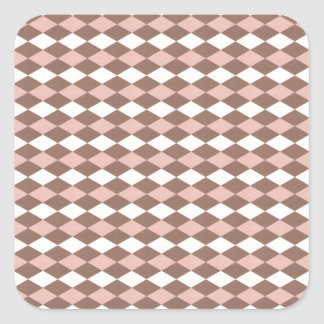 Cute Pink and Brown Gingham Square Sticker