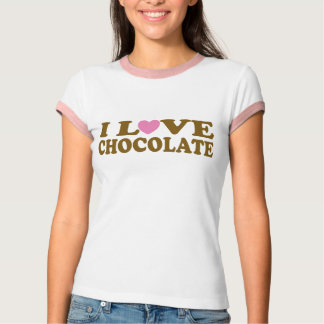 Cute Pink and Brown I Love Chocolate Tee