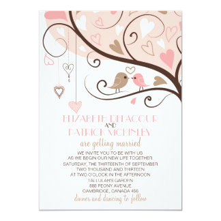 Cute Pink and Brown Lovebirds Wedding Invitation