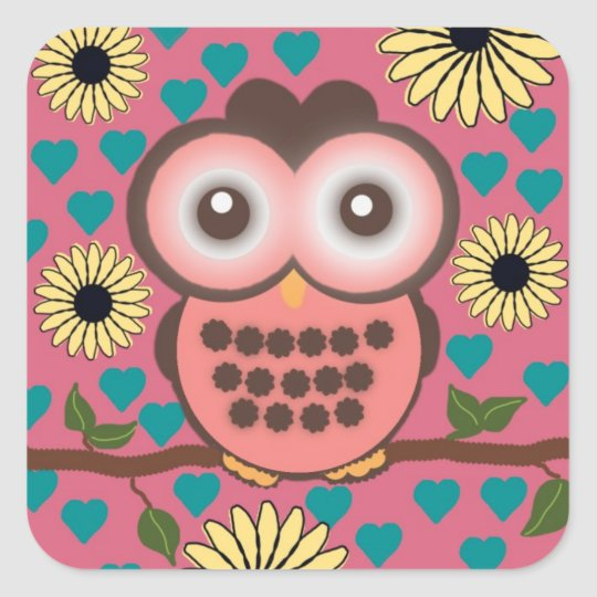 Cute Pink and Brown Owl Sticker