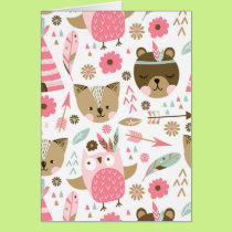 cute pink and brown teddy bear baby print card