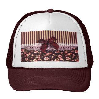 Cute Pink and Brown Vintage Flowers Mesh Hat